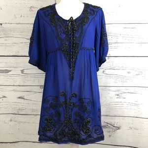 NANETTE LEPORE Paisley Beaded Tie Waist Dress 10